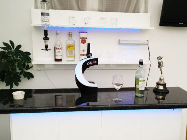 White home bar with Wall Shelving Pack